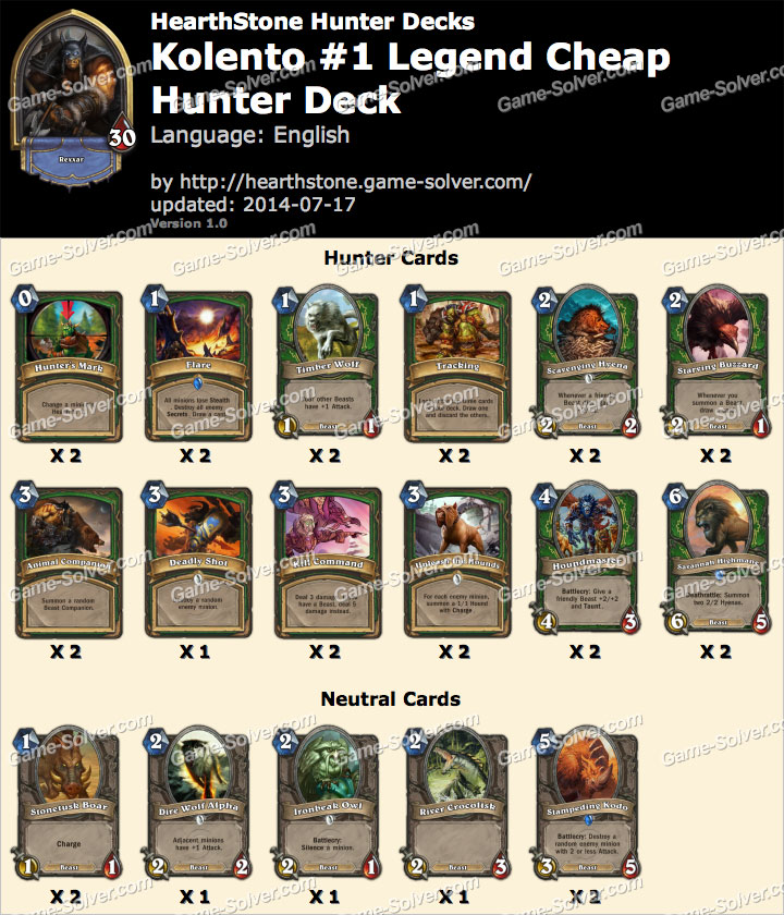 Kolento-1-Legend-Cheap-Hunter-Deck