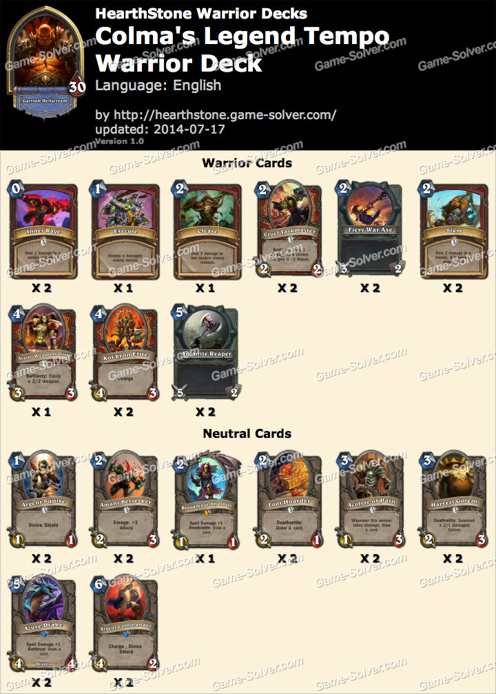 Colma-Legend-Tempo-Warrior-Deck
